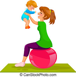 young mother playing with her baby on a gymnastic ball