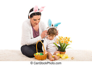 Mother and boy with Easter  basket