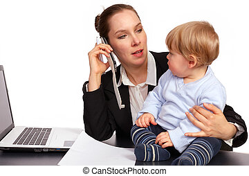 Mother and child at work series image 1