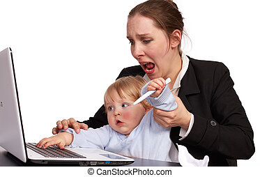 Mother and child at work series image 17