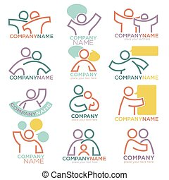 Mother and child care icons for parental orphan organization...