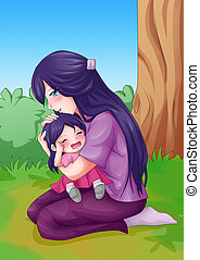 Mother and Child - Cartoon illustration of a mother...
