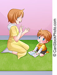 Mother and Child - Cartoon illustration of a mother reading...