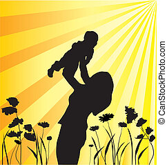 mother and child - vector happy family