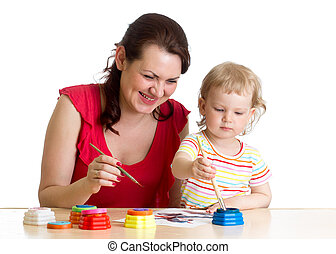 mother and child girl painting together