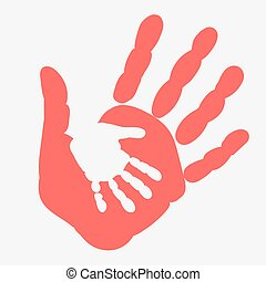Mother And Child Handprint Palm Of Woman Baby