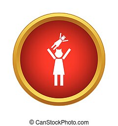 Mother and child icon, simple style