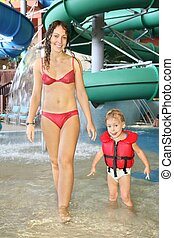 mother and child in aquapark