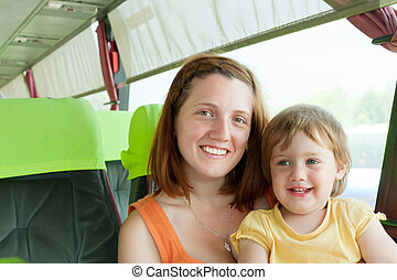 Mother and child in autobus