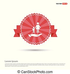 Mother and child in hand icon - Red Ribbon banner