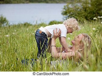 Mother and Child in Meadow