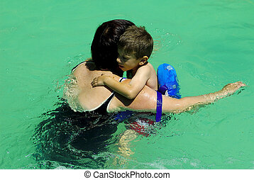 Mother and Child in Pool