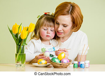 mother and child kid paint easter eggs
