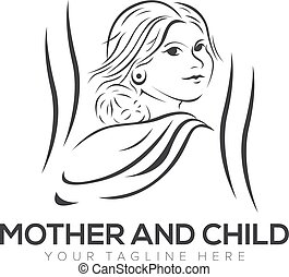 mother and child logo design with silhouette