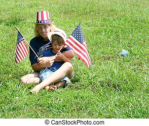Mother and child on 4th of july