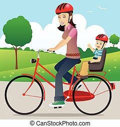 Mother and child on bicycle.eps