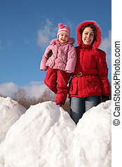mother and child on snowdrift