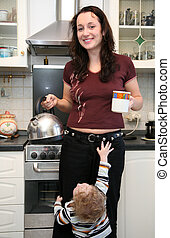 mother and child on the kitchen