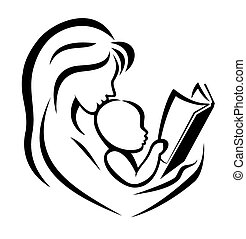 mother and child reading the book, vector illustration