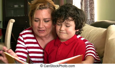 Mother and child reading - Mother and little boy reading a...