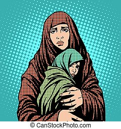 Mother and child refugees foreigners immigrants pop art retro style. Humanitarian and social issues. War and poverty