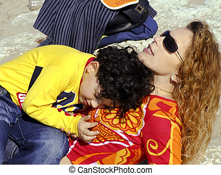 Mother and child relaxing