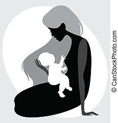 Vector illustration of a mother and child silhouette