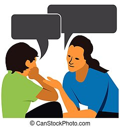 Mother and child talking. Vector illustration