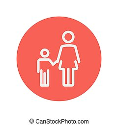 Mother and child thin line icon