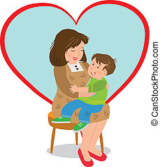 Mother and Child - Vector illustration of a boy sitting on ...
