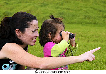 Mother and Child With Binoculars