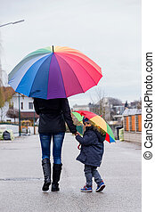 mother and child with umbrella