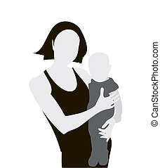 Mother and child - Woman with child silhouette. Vector...