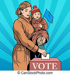 Mother and child women vote in elections pop art retro style...