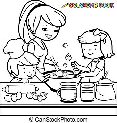 Mother and children cooking
