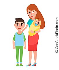 Mother and Children Poster Vector Illustration