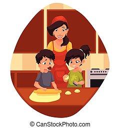 Mother and children preparing cookies in kitchen