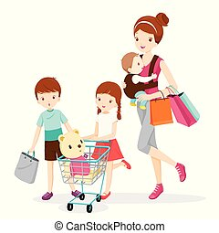Mother And Children Shopping Together