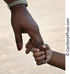 Mother and childs hanes - African-American family: child is...