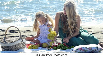 mother and daughter at a picnic