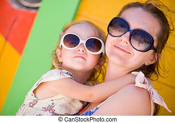 Mother and daughter at Caribbean vacation