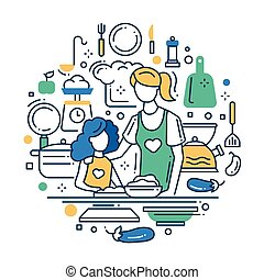 Mother and daughter at the kitchen - line design composition