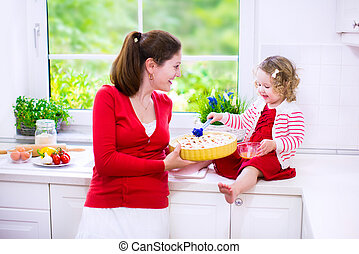 Mother and daughter baking a pie