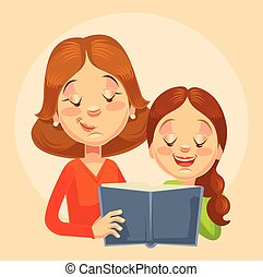 Mother and daughter characters reading. Vector flat cartoon illustration
