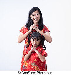 mother and daughter Chinese New Year