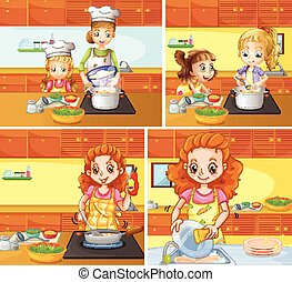 Mother and daughter cooking and cleaning