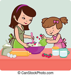 Mother and daughter cooking in the kitchen. Vector illustration