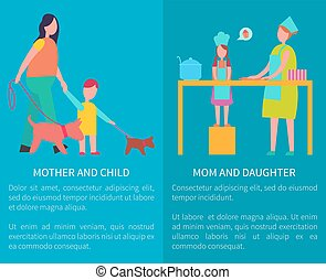 Mother and Daughter Cooking Isolated Illustration