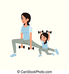 Mother and daughter doing morning exercises with dumbbells. Family sport. Motherhood concept. Physical activity and healthy lifestyle. Cartoon flat vector design