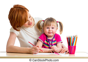 mother and daughter draw together